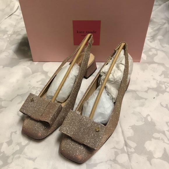 Kate Spade Sienna Bow Block Heel Sling Pumps